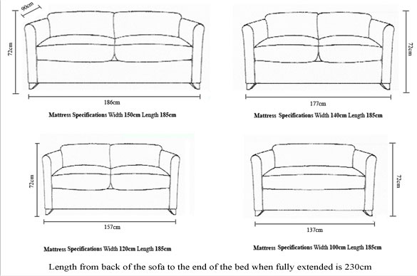 The Bolton Sofabed Company The Lavina Measurements